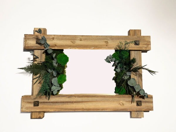Vintage mirror art with plants and moss