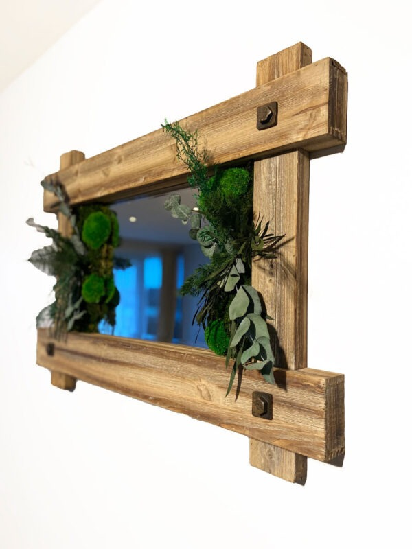 Vintage mirror with moss