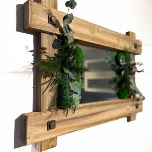 Vintage moss mirror with plants